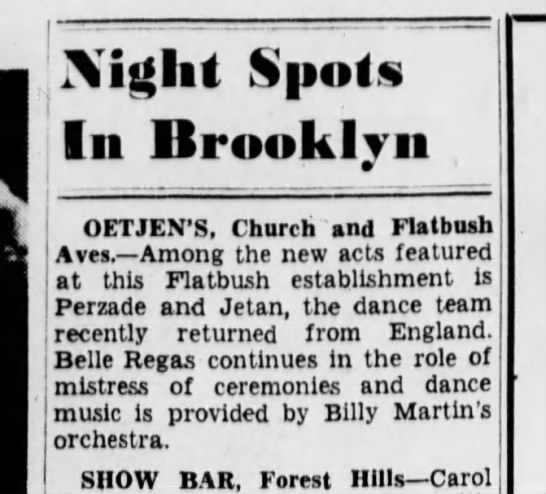 Belle Rigas Night Spots in Brooklyn (3 February 1939) -