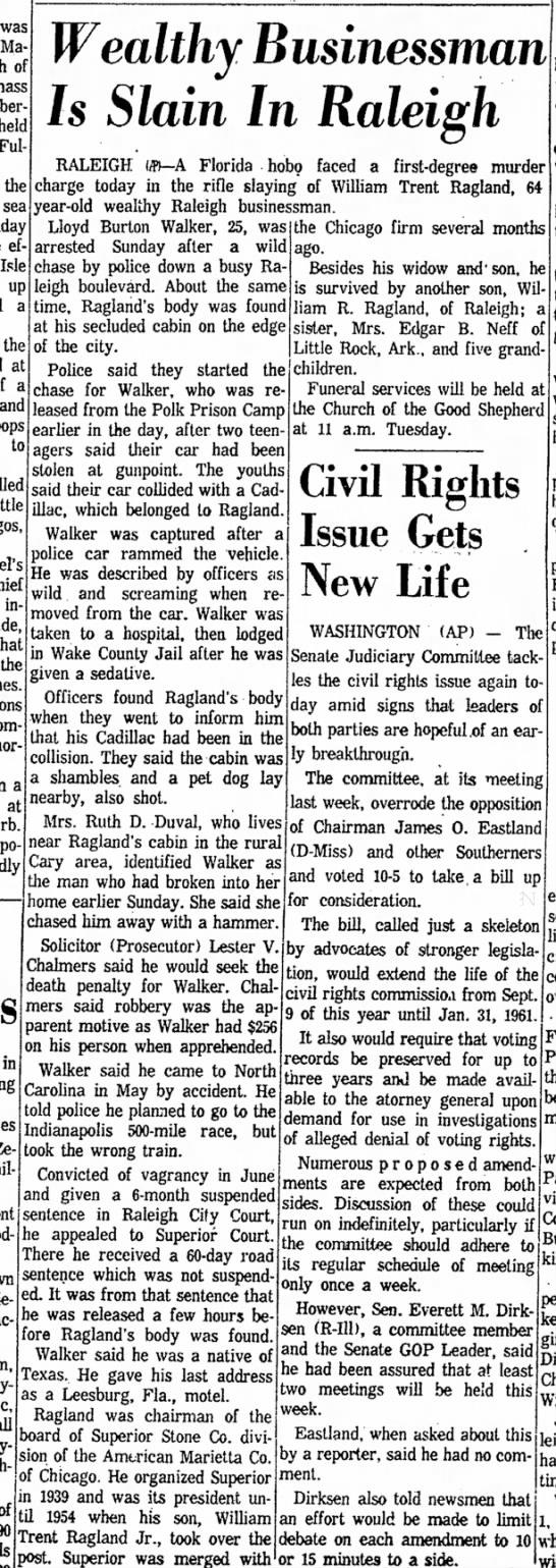 William Trent Ragland Murdered - was Ma of mass - j heldj Ful - the ef Isle up...