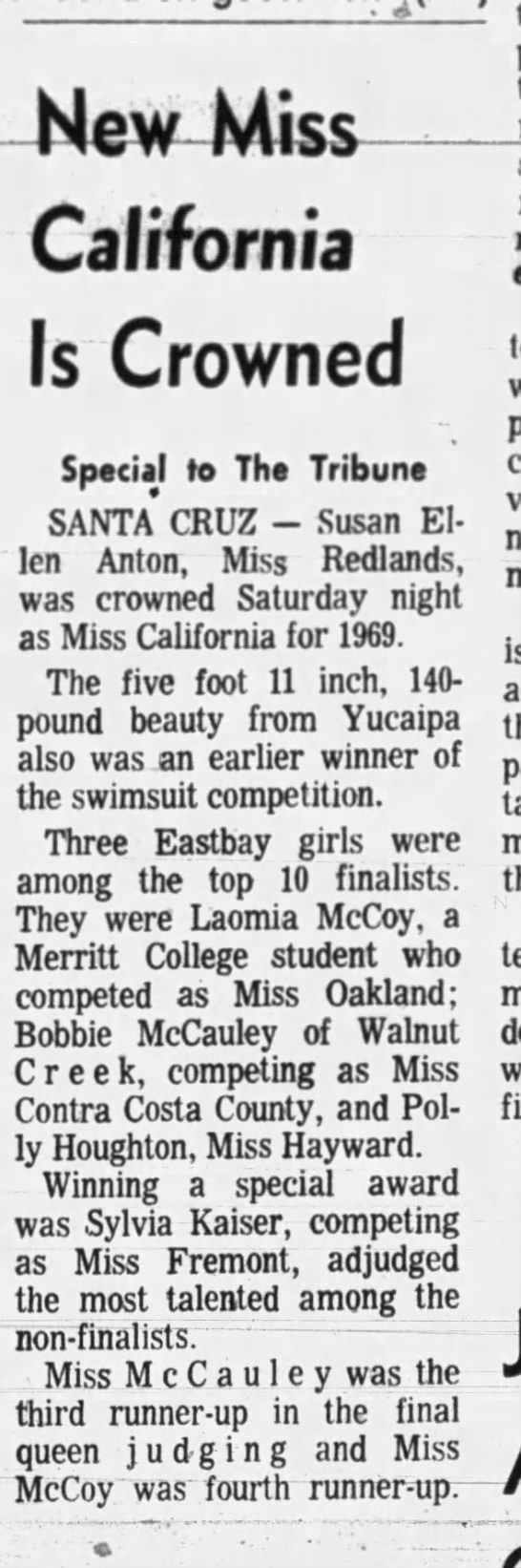 Miss Oakland Fourth Runner Up Miss Califonia 1969 -