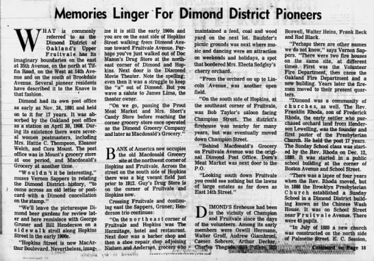 Memories Linger for Dimond District Pioneers pt.1 -
