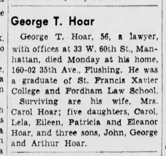 George T Hoar, 56, a lawyer, dies on 27 Oct 1941 -
