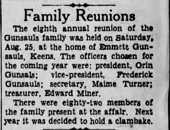 Gunsauls 8th Family reunion - Family Reunions The eighth annual reunion of...