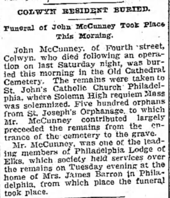 John Hughes McCunney Burial -