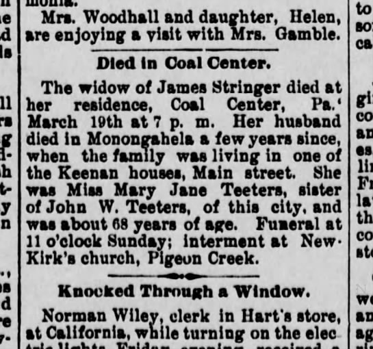 Mary Jane (Teeters) Stringer Death Notice/ The Daily Republican, Monongahela, PA/ 20 Mar 1897 -
