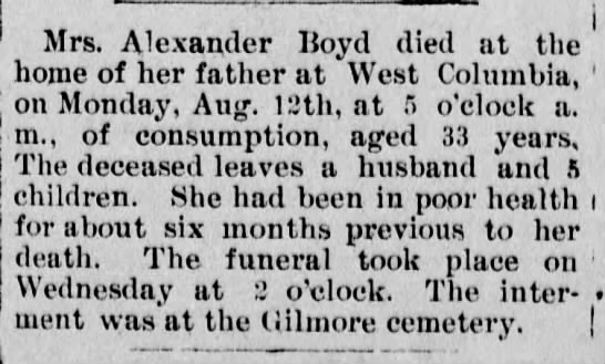 Mrs Andrew Boyd buried at Gilmore Cemetery 20 Aug 1894 -