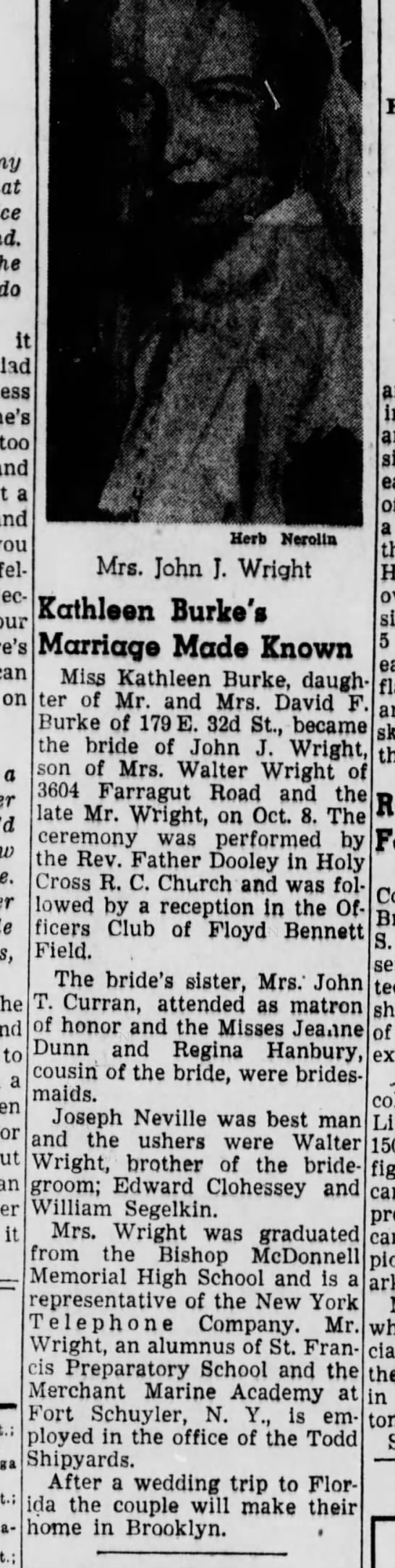Kathleen Burke Marriage to John J Wright  on Oct 8, 1949  Brooklyn Daily Eagle -
