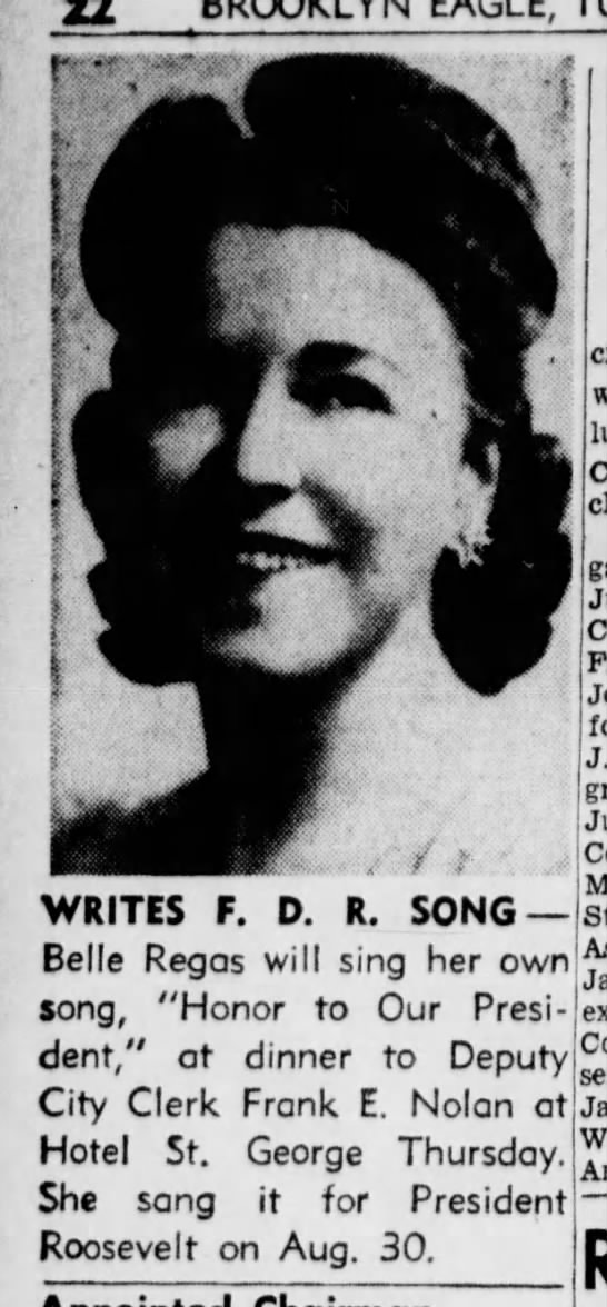 Belle Rigas writes song for FDR (10 October 1944) -