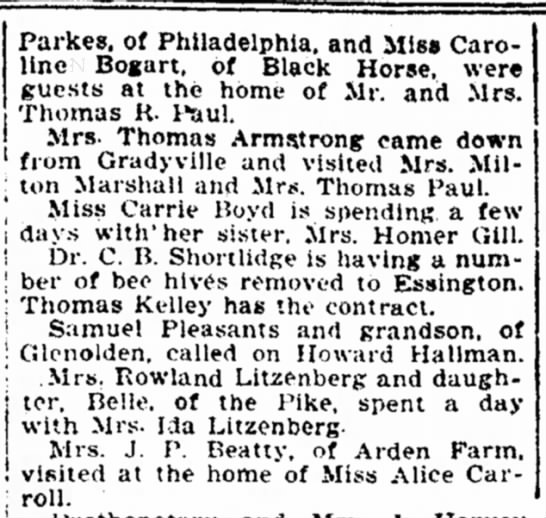 july 19.1918 Lima and Vicinity - Parkes. of Philadelphia, and Miss Caroline...