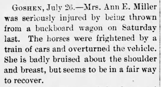 Woman thrown from buckboard wagon -