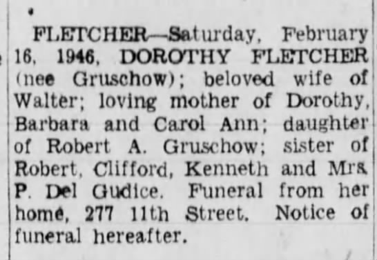 Fletcher, Dot Gruschow  Brooklyn Daily Eagle (NY) 18 Feb 1946, p7. -