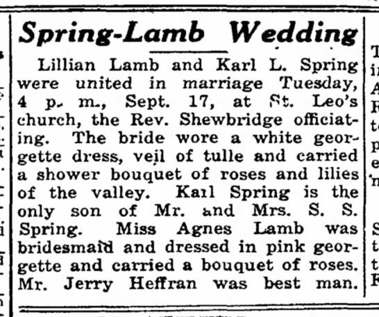 Grandmas wedding to Karl Spring, Girlie bridesmaid. -