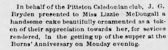 Elizabeth McDougall - In behalf of the Pittston Caledonian club, J....