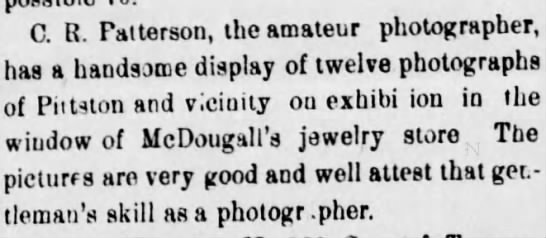 McDougal's jewelry store - C. R. Patterson, the amateur photographer, has...