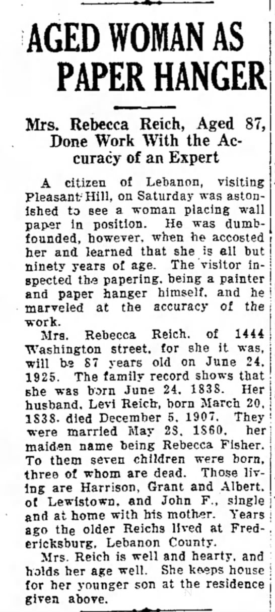 Rebecca Fisher Reich LDN 25 May 1925, pg 1 -