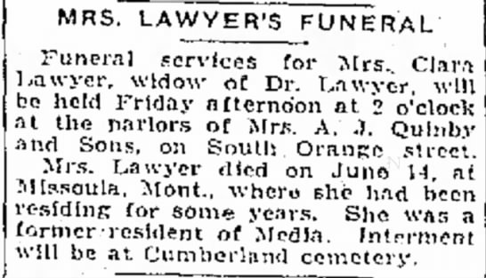 Funeral Notice of Mrs. Clara Lawyer -