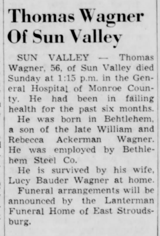 Thomas Wagner - Obituary  28 Oct 1963 -