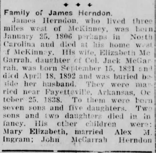 family of james herndon -