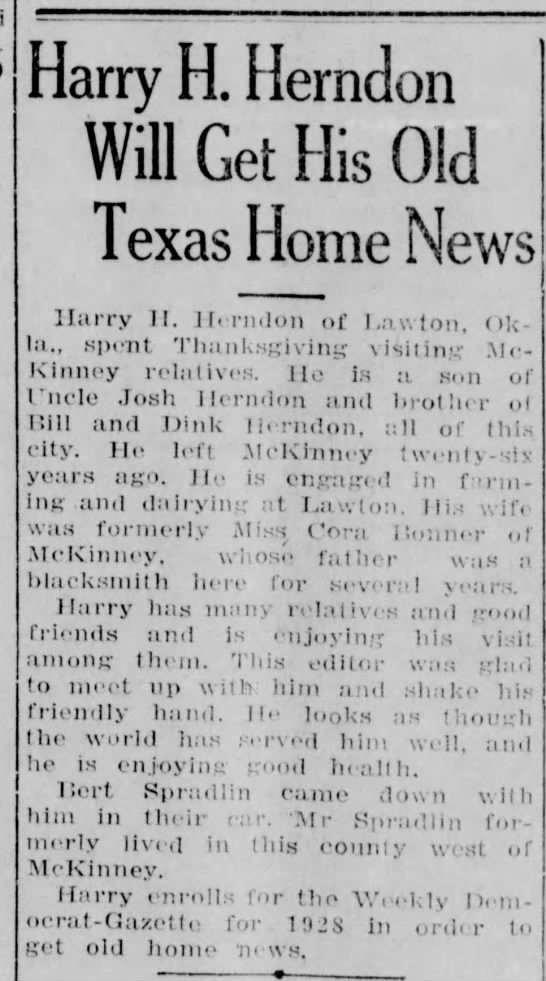 Harry Herndon son of Josh -