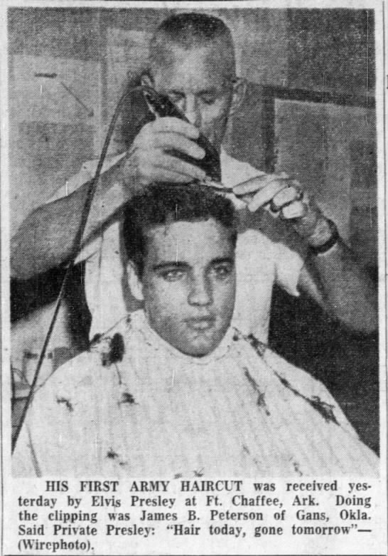 Elvis gets haircut for military induction -