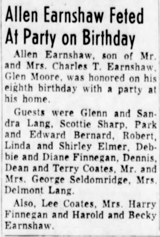 Mr. and Mrs. George Seldomridge attend Allen Earnshaw BD Party -