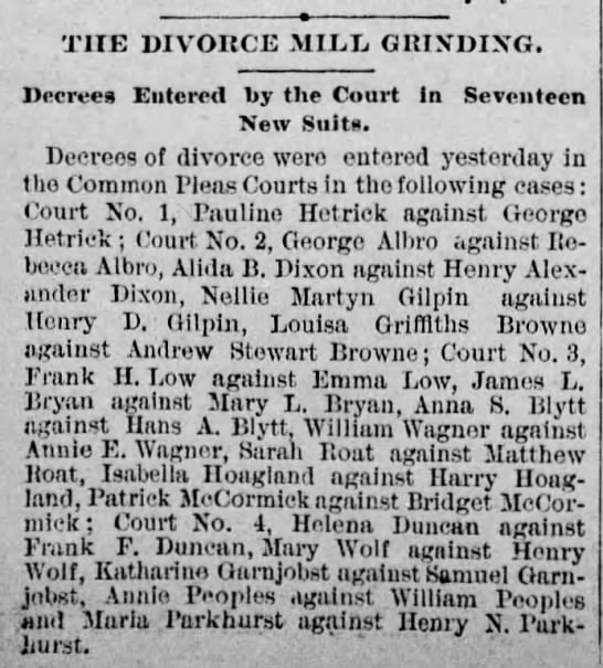 Divorces - Pauline ag. George Hetrick - The Times - Phila. PA - March 8, 1885, pg 8 -