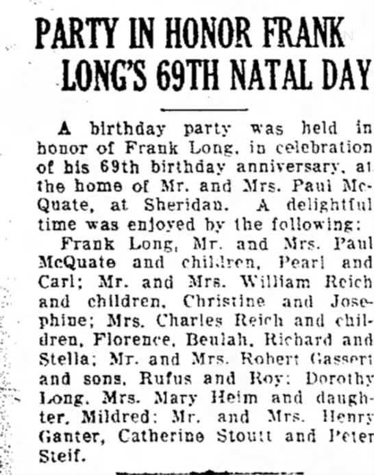 - PARTY IN HONOR FRANK LONG'S 69TH NATAL DAY A...