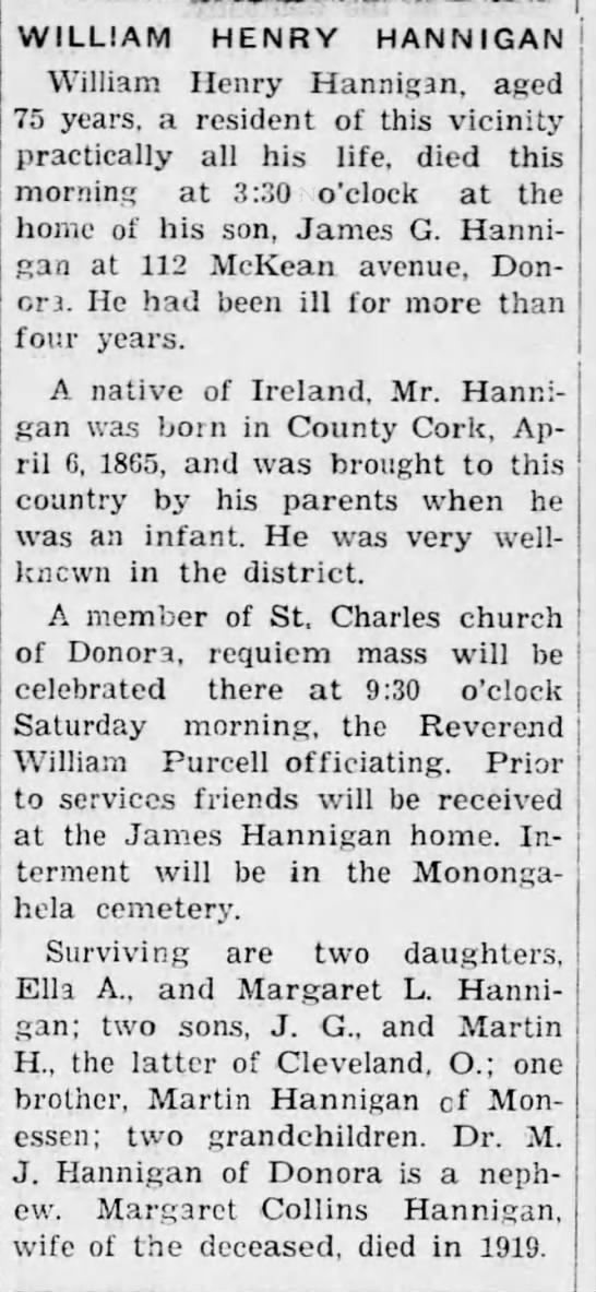 William Henry Hannigan Obiturary : April 18th 1940