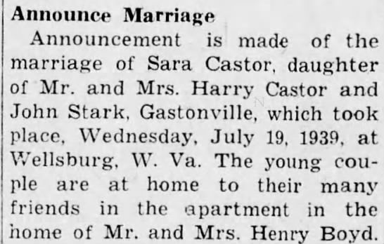 Harry Castor (dau. Sara Castor engagement to Stark) 14 Sep 1940 -