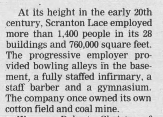 Scranton Lace employed 1,400 in early 20th century -