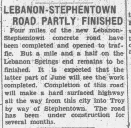 New Road between Stephentown and Lebanon almost finished -