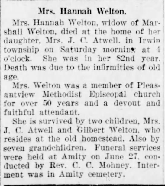 Mrs. Hannah Welton
