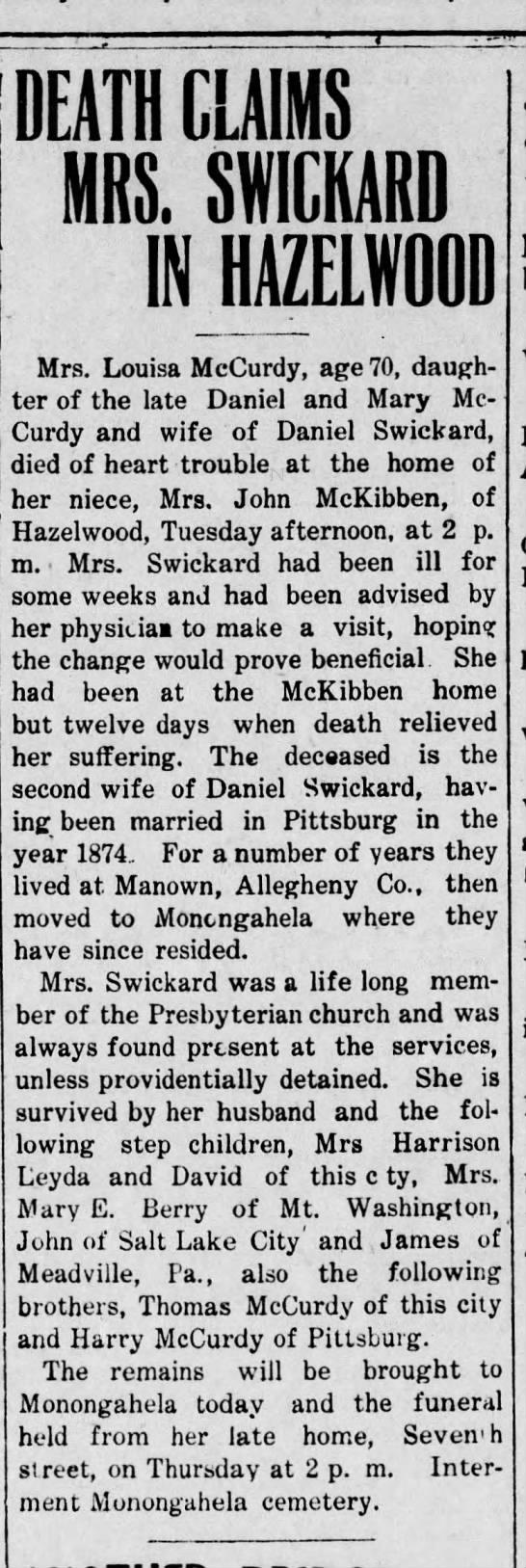 McCurdy Swickard Louisa do Dan and Mary Wed,  June 19, 1907 Monongahela, PA Paper -