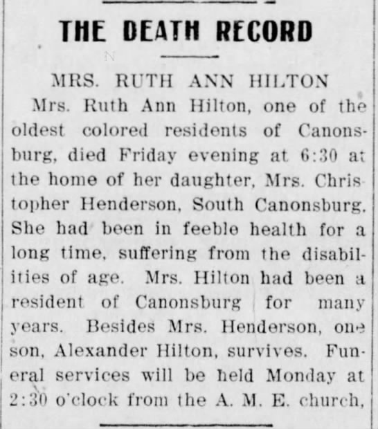 Ruth Ann Hilton: Death Notice -