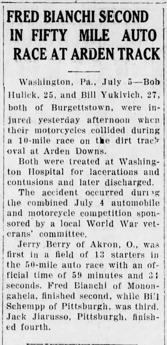 Fred Bianchi 2nd place The Daily Republican 5 July 1933 -