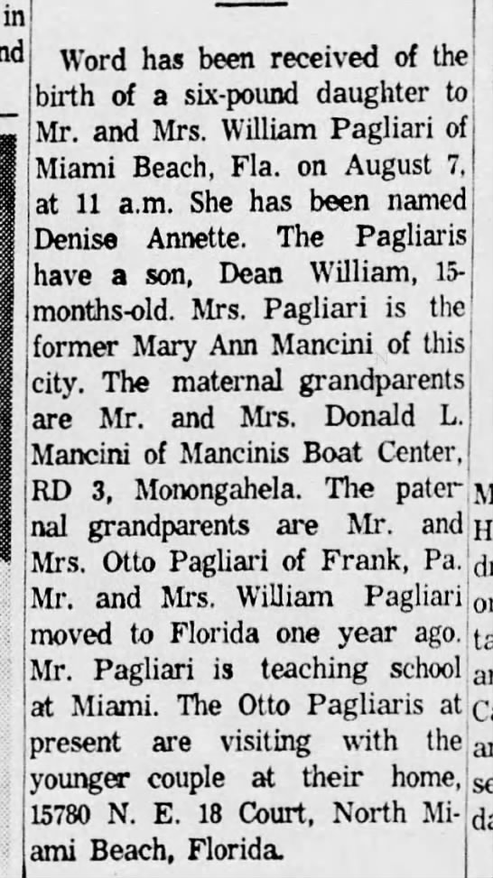 Denise Pagliari birth notice - 9 Aug 1962, Daily Republican, Monongahela -