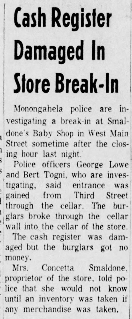 Smaldone's robbed 24 December 1964 The Daily Republican -