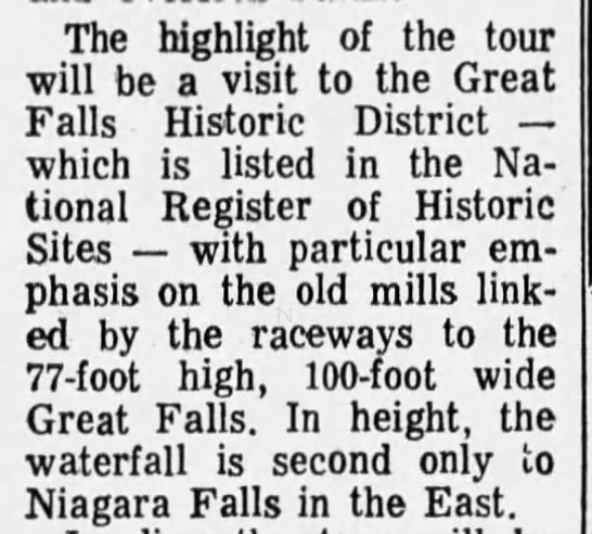 In the East, Great Falls is second only to Niagra Falls in height -
