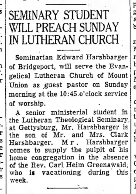 Ed Harshbarger guest pastor Mt. Union-TDN-page 12-12 Oct 1955 - SEMINARY STUDENT WILL PREACH SUNDAY IN LUTHERAN...