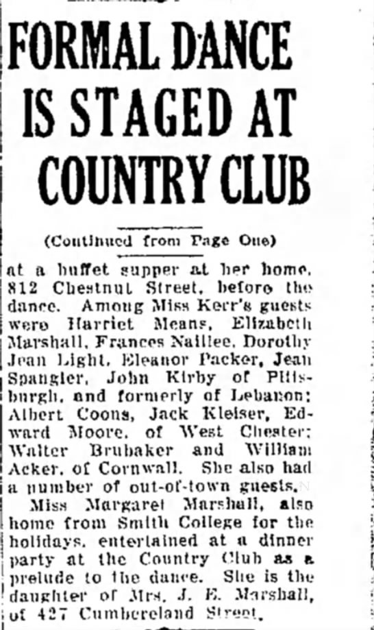 Formal Dance is Staged at Country Club (2): Peg and Sis 28 Dec 1940 -