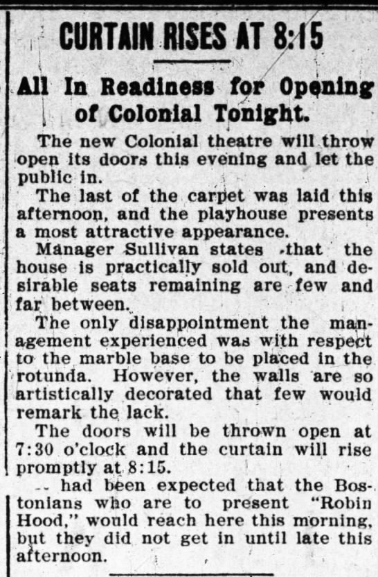 Colonial theatre opening -