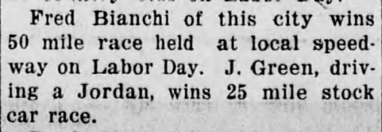 Fred Bianchi wins 50 mile race The daily republican 1 january 1930 -