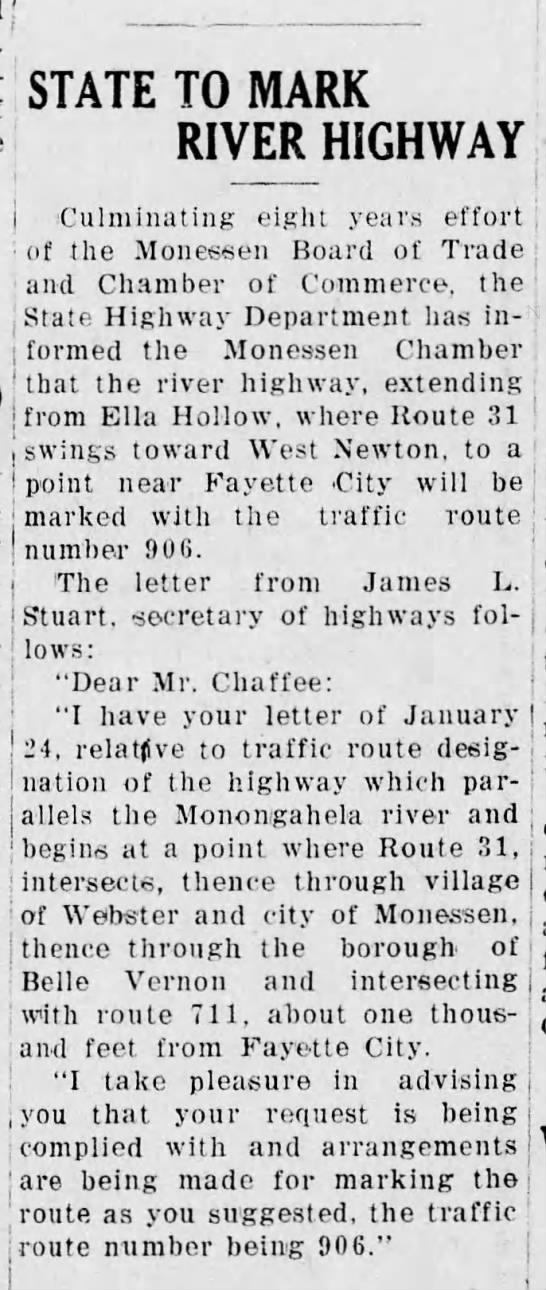 PA 906 extension, 2/8/1930 -