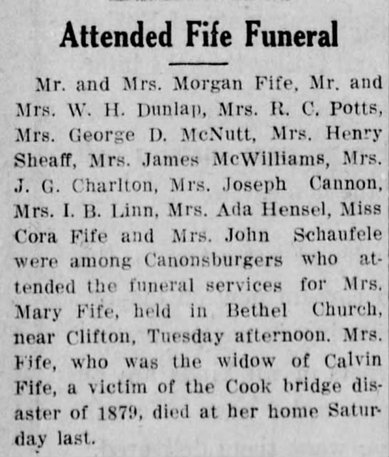 Mary Fife's funeral -