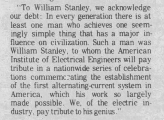 General Electric pays tribute to William Stanley -