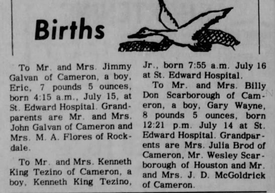 Birth of Boy to Mr & Mrs Billy Don Scarborough -