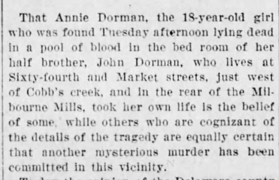 Some believe Annie Dorman's death to be a suicide, others a murder -