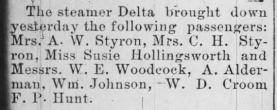 Steamer Delta passenger list - The steamer Delta brought down yesterday the...