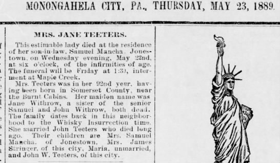 Mrs Jane (Withrow) Teeters Death Notice/The Daily Republican, Monongahela, PA/ 23 May 1889 -