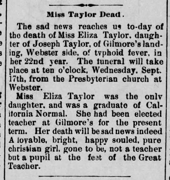 Miss Eliza Taylor death daughter of Joseph Taylor 16, Sept 1890 -