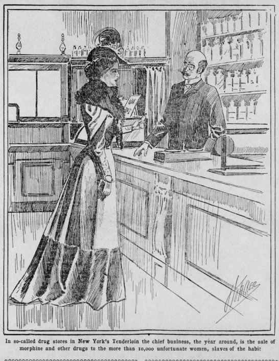 19th century woman buys morphine from a pharmacist -